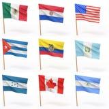 4 amerikanska samlingslandsflaggor royaltyfri illustrationer
