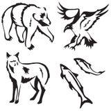 4 animais estilizados Fotografia de Stock Royalty Free