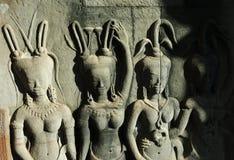 4 apsaras в wat angkor Стоковые Фото