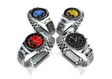 4 Armbanduhren der Männer Stockfoto
