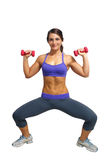 4 atlety pięknych brunetki ręki ciężaru Zdjęcie Royalty Free