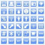 4 błękitny ikon kwadratowych majcheru ilustracja wektor