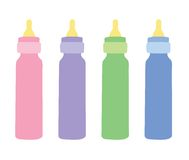 4 Baby bottles. Pink, purple, green and blue baby bottles illustration vector illustration