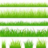 4 backgrounds of green grass. Vector. 4 backgrounds of green grass and 4 tufts of grass, Isolated On White Royalty Free Stock Photography