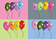 4 ballons de vente Photo stock
