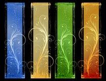 4 bandeiras abstratas do grunge com eleme do projeto floral Imagens de Stock Royalty Free