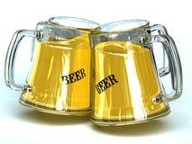 4 beer jars. 4 glass beer jars with cool beer Royalty Free Stock Image