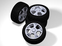 4 big wheels with tyres Stock Photography