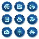 4 blåa symboler för knappcirkelekologi ställde in rengöringsduk Royaltyfria Foton