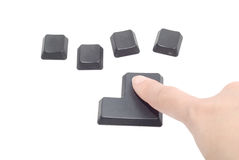 4 Black computer button with finger Royalty Free Stock Photo