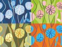 4 bloemenachtergronden Royalty-vrije Stock Foto's