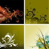 4 bloemenAchtergronden Stock Afbeelding