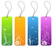 4 blom- produktetiketter för färger Royaltyfria Bilder