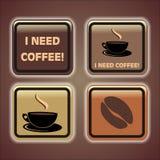 4 botones del café Foto de archivo
