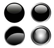 4 boutons noirs chics Photo libre de droits