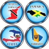 4 boutons ronds des Caraïbes photos stock