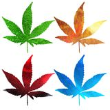 4 bright metal canabis leaf Stock Image