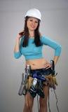 4 brunetki kobiecy rzeczy toolbelt Fotografia Stock