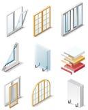 4 byggande symboler part produktvektorfönster Royaltyfri Bild