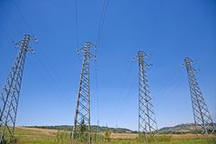 4 Cable cuttent towers Stock Photos
