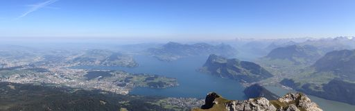 4 cantons lake panorama from Mount Pilatus Stock Photos