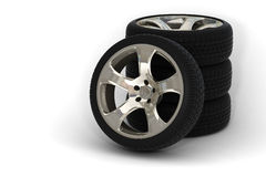 4 car wheels. 3d rendered car wheels detail Royalty Free Stock Photography