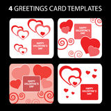 4 cartes de voeux : Le jour de Valentine Illustration de Vecteur