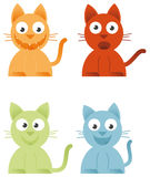 4 Cats. On white background vector illustration Stock Images