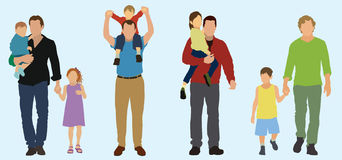 4 Caucasian Fathers. With their children vector illustration