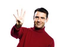 4 caucasian fingrar fyra man uppvisning Royaltyfri Bild
