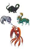 4 Chinese Mythical Creature Gods (Shijin) Royalty Free Stock Photo