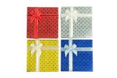 4 Christmas Gift Box Set In Bird S Eye View Royalty Free Stock Photos