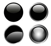 4 Classy Black Buttons Royalty Free Stock Photo