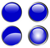 4 Classy Blue Buttons Stock Photos