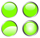 4 Classy Green Buttons Stock Photo