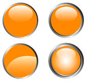 4 Classy Orange Buttons Royalty Free Stock Photos