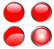4 Classy Red Buttons Stock Photos