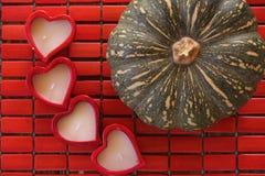 4 coeurs pour le potiron ! Image libre de droits