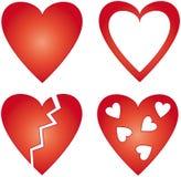 4 coeurs rouges différents Image libre de droits