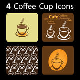 4 Coffee Cup Icons. Four Brownish Coffee Illustration Icons Stock Photo