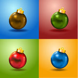 4 Color Christmas Balls Card and free copy space. Merry Xmas card with 4 color balls and copyspace Green. Blue, Red and Yellow Stock Photo
