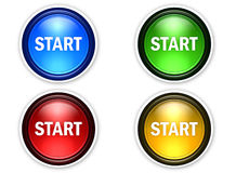 4 color start button Stock Photography
