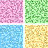 4 colorful backgrounds. Made of flowers and hearts Royalty Free Stock Images