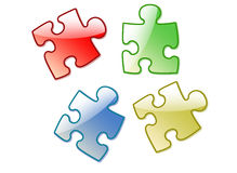 4 colorise puzzle Royalty Free Stock Photos
