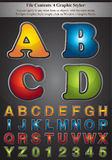 4 Colors of Alphabet Stroke Style Royalty Free Stock Photos