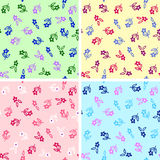 4 colors seamless flowers Stock Photo
