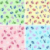 4 colors seamless flowers. Seamless flower pattern in 4 colors varieties Stock Photo