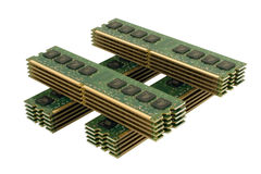 4 column of computer memory modules 3 Stock Images