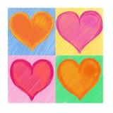 4 corações da cor para o dia do Valentim Fotografia de Stock
