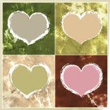 4 corazones de la tarjeta del día de San Valentín Imagen de archivo
